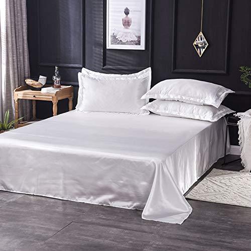 Sábana Antideslizante Simple y Fresca de Color Puro, sábana de Seda de Seda Helada, Juego de sábanas de Tres Piezas, sábana Blanca Pura de 230 * 250 cm (Cama de 1,5 m)