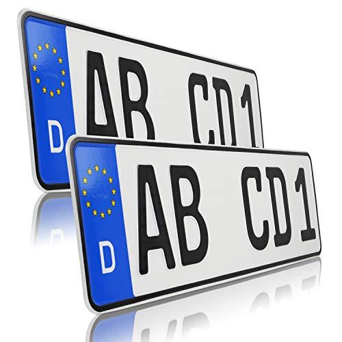 UTAL 2 x Stück EU Kfz-Kennzeichen 42 cm x 11 cm Nummernschilder 420 mm mit individueller Prägung nach Ihren Vorgaben. (420)