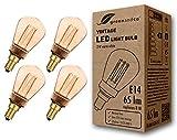 4x Bombilla LED greenandco® decorativa estilo vintage antiguo Edison E14 ST45 2W 65lm 1800K (blanco extra cálido) 320° 230V vidrio, sin parpadeo, no regulable
