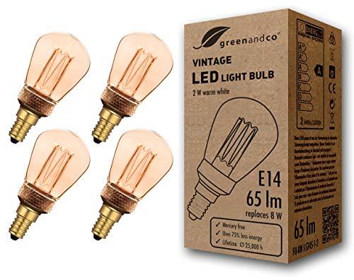 4x greenandco® Vintage Design LED Lampe im Retro Stil zur Stimmungsbeleuchtung E14 ST45 Edison Glühbirne, 2W 65lm 1800K extra warmweiß 320° 230V flimmerfrei, nicht dimmbar, 2 Jahre Garantie