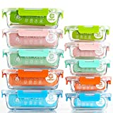 [10-Pack] Glass Food Storage Containers (A Set of Five Colors), Meal Prep Containers with Lids for...