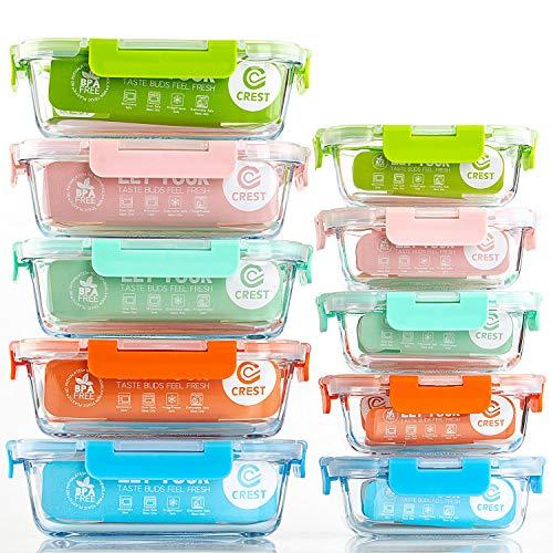 CREST Lot de 10 Récipient en Verre - 1040 ML + 370 ML Boîtes Alimentaires - Contenants de Stockage de Repas en Verre, sans BPA (Multicolore)