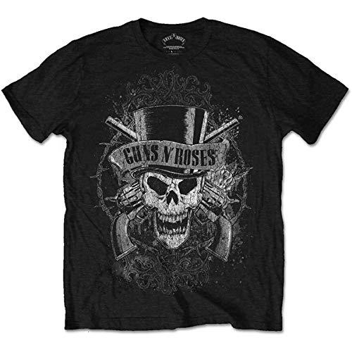 Guns N' Roses Faded Skull Camiseta, Negro, XXL para Hombre