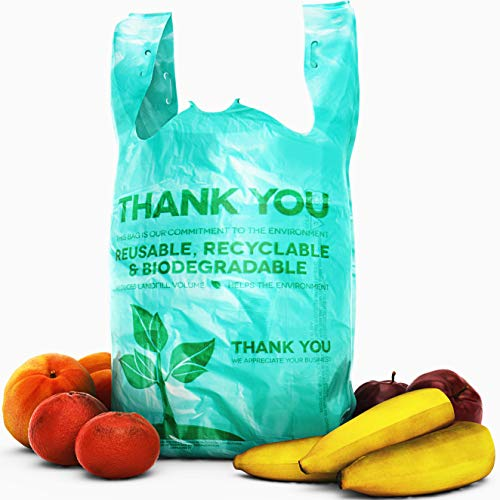 Biodegradable, BPA-Free Plastic Grocery Bags 100 Pk. Clear, 22' Thank You Tote Perfect for Business. Best Bulk, Heavy Duty T Shirt Bag for Shopping. Great Thick, Green Takeout Bags for Restaurants
