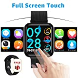 Smart watch, full touch Pressione sanguigna Cardiofrequenzimetro Sleep Tracker Salute Smartwatch uomo donna per IOS Android (Nero)