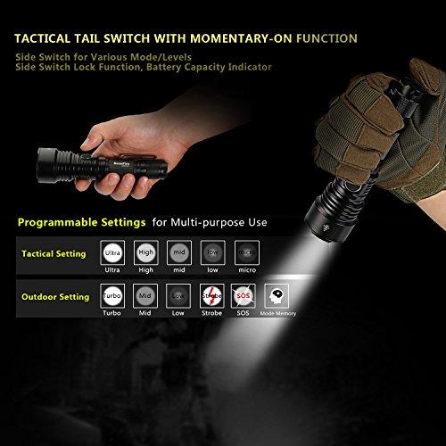Lampe de poche tactique: 1060lm USB ladbare, étanche lampe torche tactique avec une portée efficace de 376mètres, batterie 3400mAh 18650Lithium