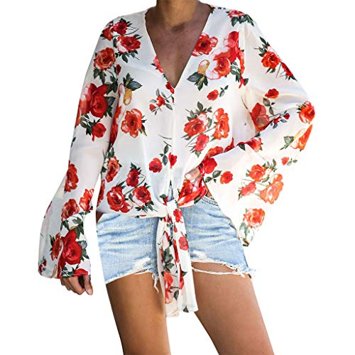 Discover Bargain Lovor Women's Floral Printed Front Tie Bow V Neck Long Sleeve Tops Summer Blouses C...