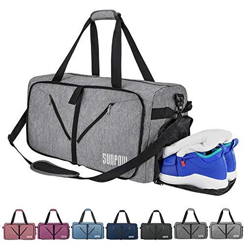 SUNPOW Sporttasche, 65L Faltbare Reisetasche Packbare Sporttasche mit Schuhfach Gym Fitness Tasche für Herren and Frauen Wochenend Handgepäck Tasche Reisegepäck mit Schulterriemen - 100{ce2d72fe5c09cf1cc1797b5c63b7cc040e47cf8dd203cfd82a2a5c40afa8d1b2} Robust