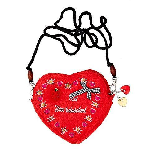 Edelweiss Trachten Tasche Oktoberfest Dirndl Herzform abnehmbarem Langer Kordel Rot