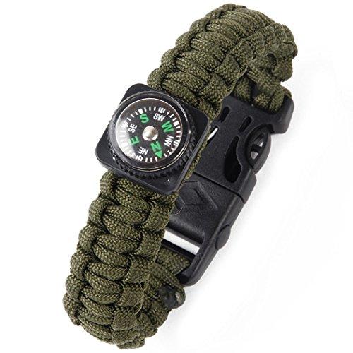 Bluelans® Bracelet de survie avec grattoir, racloir, pierre à feu, sifflet et boussole Taille unique vert militaire