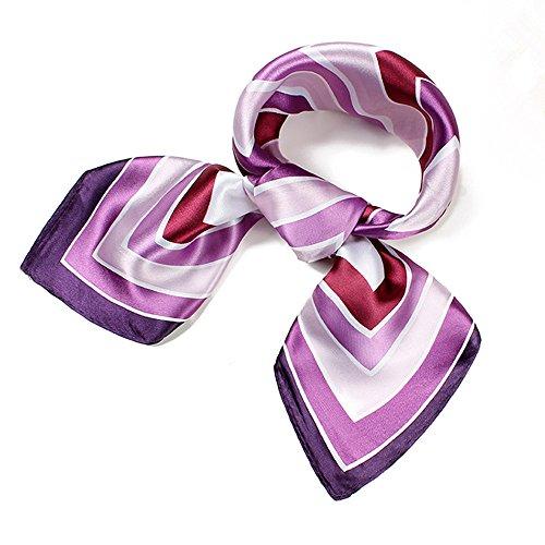 Womens Lavender Purple Satin Silk Feeling Formal Square Scarf Neckerchief Head Band