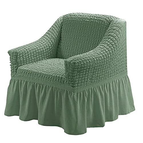 XMJFDMAI Funda Protectora para Muebles,Protector Multiusos para Muebles, 1 Pieza, fácil de Montar, Funda para sofá, Universal, de Gran Elasticidad con Falda, Estilo campestre-Green_M