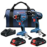 Bosch GXL18V-239B25-RT 18V 2-Tool 1/2 Inch Hammer Drill Driver and 2-in-1 Impact Driver Combo Kit with 2 Lithium-Ion Batteries & Charger (Renewed)