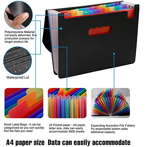 24 Pockets Expanding File Folder,Accordion File Organizer with Expandable Cover,Portable A4 Letter Size File Box,High Capacity Plastic Colored Paper Document Receipt Organizer Filing Folder Organizer Photo #3