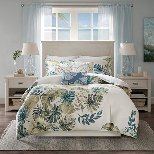 "Harbor House Cotton Duvet Set-Coastal, Beach Cottage Design All Season, Breathable Comforter Cover Tropical Bedding, Matching Shams, King(106""x90""), Monstera Leaf Green 5 Piece"