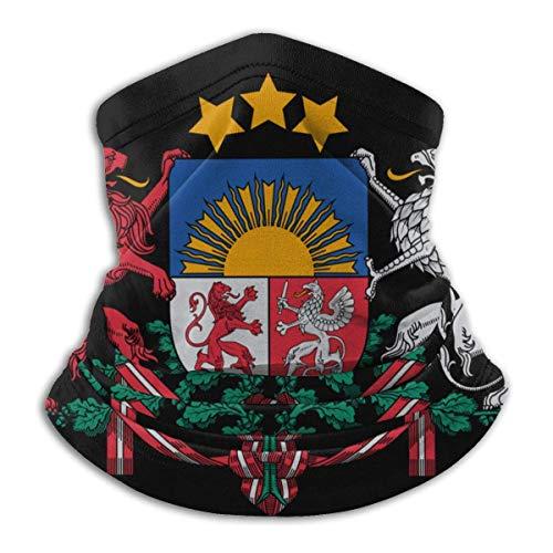 Head Scarf,Latvia National Emblem Neck Gaiter Premium for Climbing Neck Scarf,25x30cm