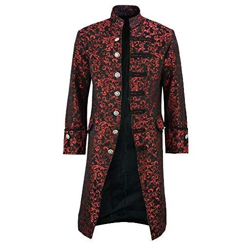 Kuizhiren1 Chaqueta para hombre cálida de invierno con botones largos para Outwear abrigos, Halloween victoriano hombres jacquard tejido cuello soporte manga larga abrigo Outwear rojo XXXXXL