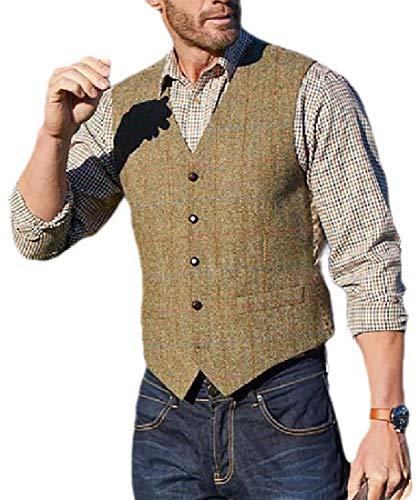 Desconocido GenericC Mens Retro British Style Single Breasted Checkered Separate Vests 1 2XL