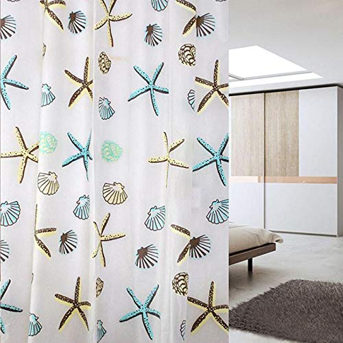Badezimmerzubehör, Duschvorhang, PEVA, wasserdicht, Seestern & Muschel, 200 x 180 cm
