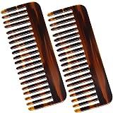 Peine de dientes anchos, de celulosa, para rizar, largo o húmedo, 2 unidades (marrón)
