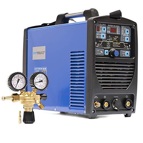 Dispositivo de soldadura superpotente de IPOTOOLS 200DI WIG, CA CC, con reductor de presión de CO2 de argón, 200 amperios, soldador inverter completamente digital, HF, función de pulso, MMA, IGBT