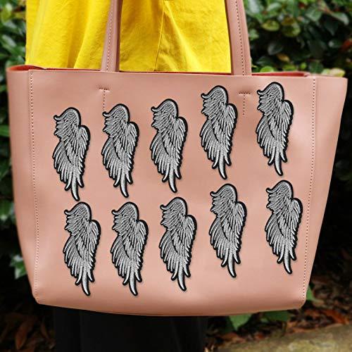 Exquisito bordado de ala apliques parche de ropa bolso de costura para decoración de ropa(Silver)