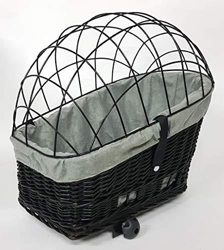 Tigana - Hundefahrradkorb für Gepäckträger aus Weide Natur 56 x 36 cm mit Metallgitter Tierkorb Hinterradkorb Hundekorb für Fahrrad (S-S) (XL + Kissen + Einlage G1)