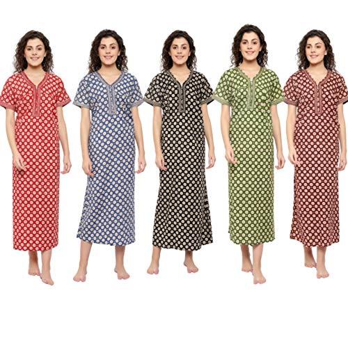 CIERGE Women's Cotton Jaipur Print Front Chain Opening Nighty (5,...