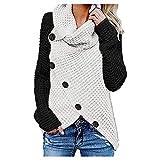 Sudadera de mujer de tamaño grande, de un solo color, con botones, blusa, camisa, suave, cómoda, cuello alto, ajustada, básica, de algodón, para otoño hasta primavera, Negro , S