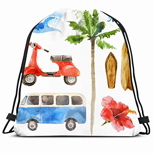DHNKW Drawstring Backpack String Bag 14X16 Beach Watercolor Surfing Retro Sports Recreation Vintage Woodstock Seventies Travel Palm Tree Hand Old Car Sport Gym Sackpack Hiking Yoga Travel Beach