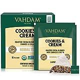 VAHDAM, Infusión Orgánica Cookies & Cream | Sin Cafeína | Ingredientes 100% Naturales – Extracto de Galletas y Crema, Almendra, Cacao, Canela, Cardamomo, Camomila y Vainilla| 15 Bolsitas de Té