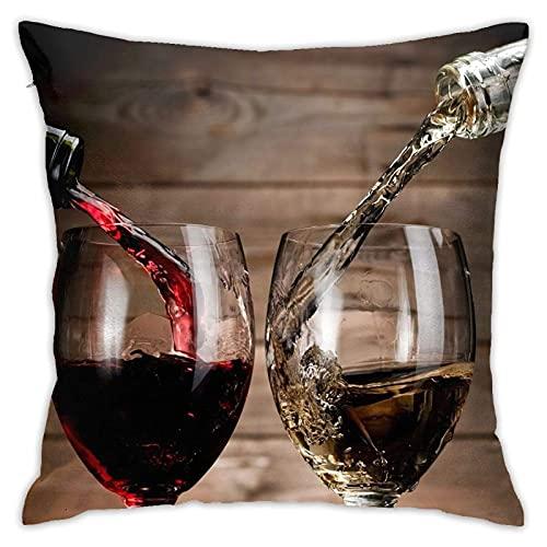 SHENGANG Fundas de almohada para botellas de vino y vidrio de 45 x 45 cm, fundas de almohada cuadradas para sofá, cama, coche