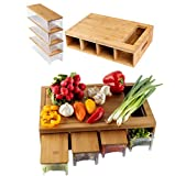 BAMBOO LAND Large bamboo cutting board with 4 trays/drawers/container and bamboo lids, Chopping board with juice grooves, handles & food sliding opening, cutting board For easy food prep and cleanup