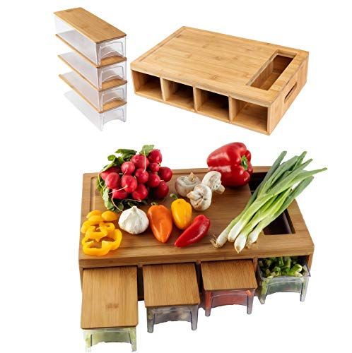 Bamboo Land - Large bamboo cutting board with trays