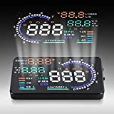 "Qiilu A8 5.5"" Coche HUD Head Up Display OBD II Pantalla reflectora de parabrisas Velocidad de visualización"