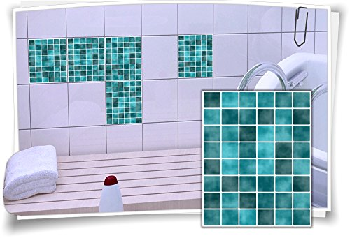 Medianlux Fliesen-Aufkleber Fliesen-Bild Fliesen-Imitat Mosaik Türkis Bad WC Deko Dekor Badezimmer Kachel Folie Digitaldruck, 12 Stück, 15x20cm