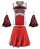 Women's High School Musical Cheerio Classic Cheerleader Athletic Sport Uniform Fancy Dress (Red, US 6-8)