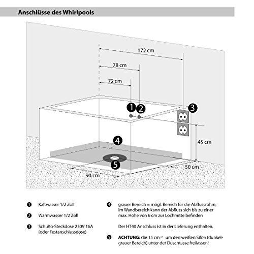 AcquaVapore Whirlpool Pool Badewanne Wanne A1813NA mit Reinigungsfunktion 90×185, Selfclean:aktive Schlauch-Reinigung +70.-EUR - 6