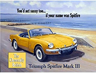 OMSC Triumph Spitfire Mark III Metal Sign: Automobiles and Cars Decor Wall Accent