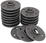 Brooklyn Pipe Floor Flange - 3/4 Inch Pipe Flange Dark Gray Cast Iron Steampunk Pipe and Flanges Fit for Decorative DIY Furniture Projects, 16 Pack
