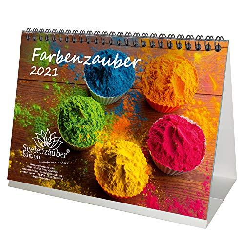 Farbenzauber DIN A5 Tischkalender für 2021 Farben Colours - Geschenkset Inhalt: 1x Kalender, 1x Weihnachtskarte (insgesamt 2 Teile)