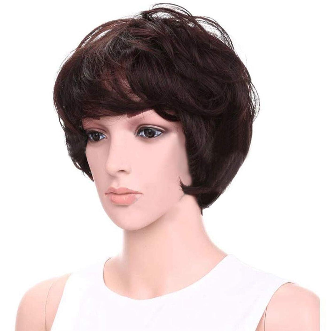 ジョリー受け入れる満足できるDoyvanntgo パーソナリティーウィッグ女性ショートヘアケアふわふわウィッグエアフラットバンズ付きヘアヒート抵抗ウィッグ8inch(ダークブラウン) (Color : Dark brown)