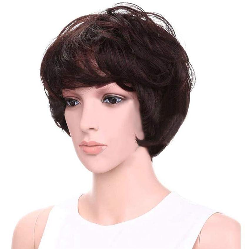 牽引ムスタチオ胴体JIANFU パーソナリティーウィッグ女性ショートヘアケアふわふわウィッグエアフラットバンズ付きヘアヒート抵抗ウィッグ8inch(ダークブラウン) (Color : Dark brown)