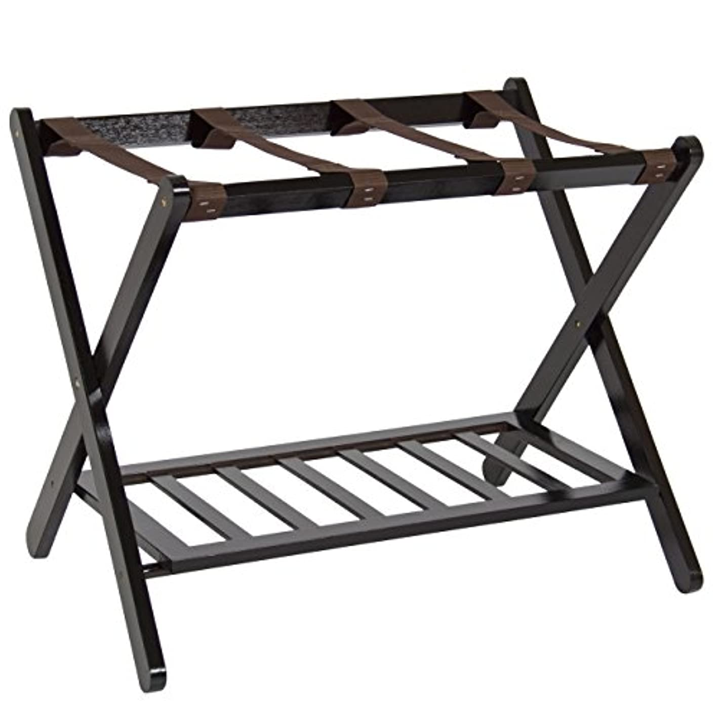 Best Choice Products 110lb Capacity Wood Folding Luggage Rack for Home, Bedroom, Hotel w/Shelf, Nylon Straps - Brown ikppfa5380852