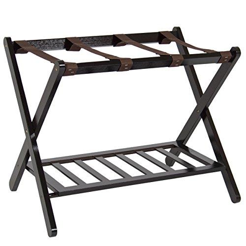 Best Choice Products Folding Luggage Rack w/Shelf, Nylon Straps, 110lb Capacity, Brown