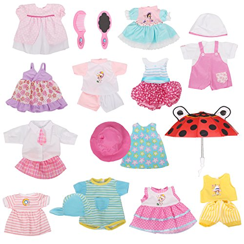 Huang Cheng Toys 12 Pcs Set Handmade Lovely Baby Doll Clothes Dress Outfits Costumes for 14 to 15-inch Doll Cloth Hat Cap Umbrella Mirror Comb Girl Christmas Birthday Gift for Little Girl