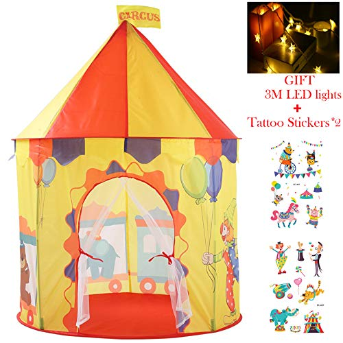 Georgie Porgy Kids Foldable Play House Portable Tent Castle Indoor Outdoor Toy Garden Yellow Circus Tent Free for LED light + Children Tattoo Sticker *2
