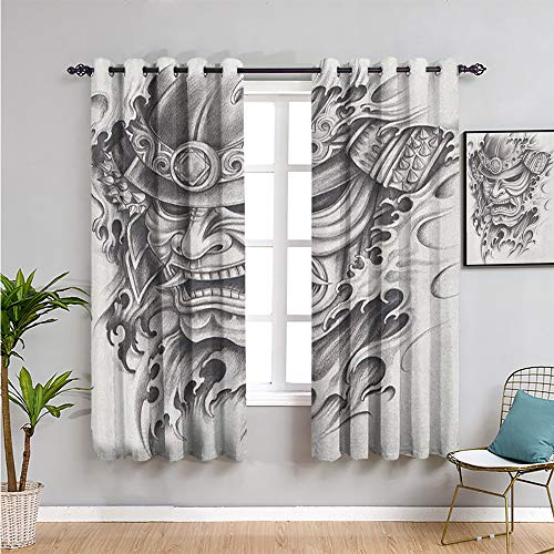 VICWOWONE Kabuki-Masken-Vorhang, verdunkelt, Vorhänge 213,4 cm Länge, Krieger-Samurai-Zeichenstil mit wütendem Ausdruck, historische Figur, guter Schlaf, B 132 x L 213,4 cm, Schwarz / Weiß