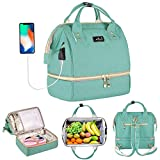 Viedouce Lunch Bag for Women Adult Insulated Work Backpack Small Breast Pump Bag Handbag Tote Wallet Purse with USB Charging Port, Mint Green