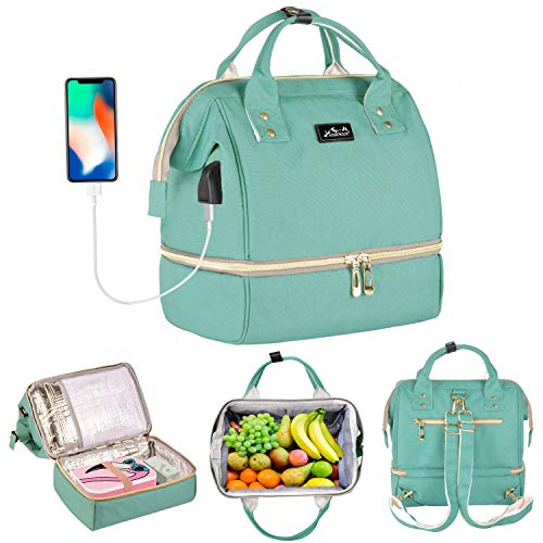 Viedouce Breast Pump Bag Backpack Small Diaper Bag with USB Charging Port Mint Green